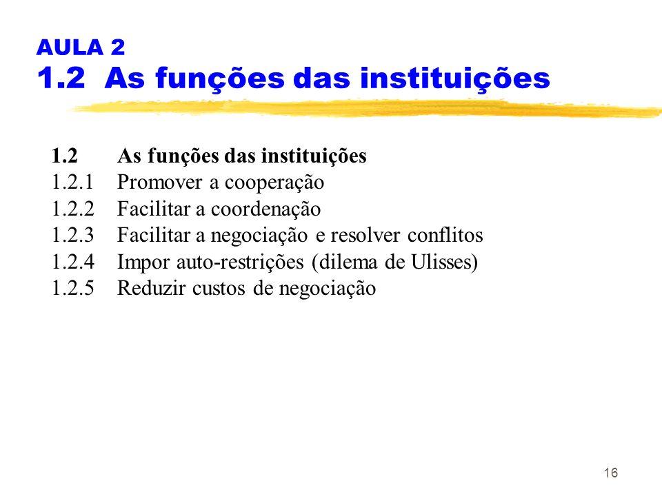 AULA 2 1.2 As funções das instituições