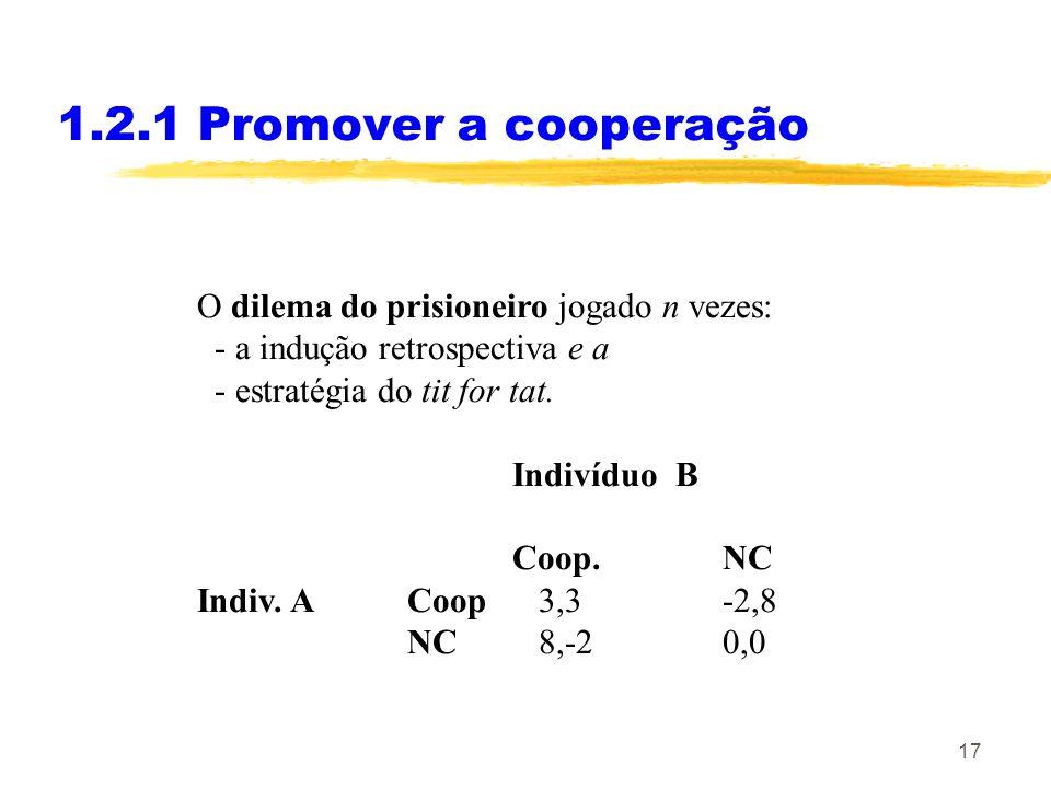 1.2.1 Promover a cooperação O dilema do prisioneiro jogado n vezes: