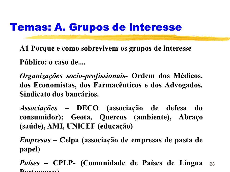 Temas: A. Grupos de interesse