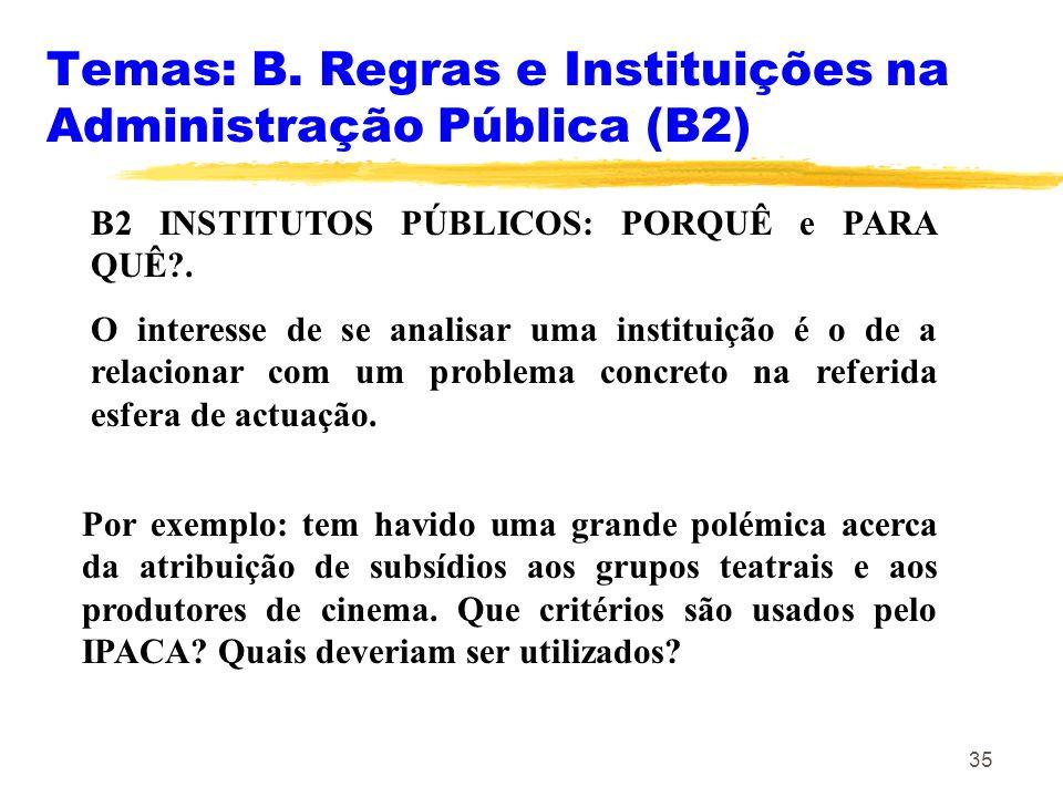 Temas: B. Regras e Instituições na Administração Pública (B2)