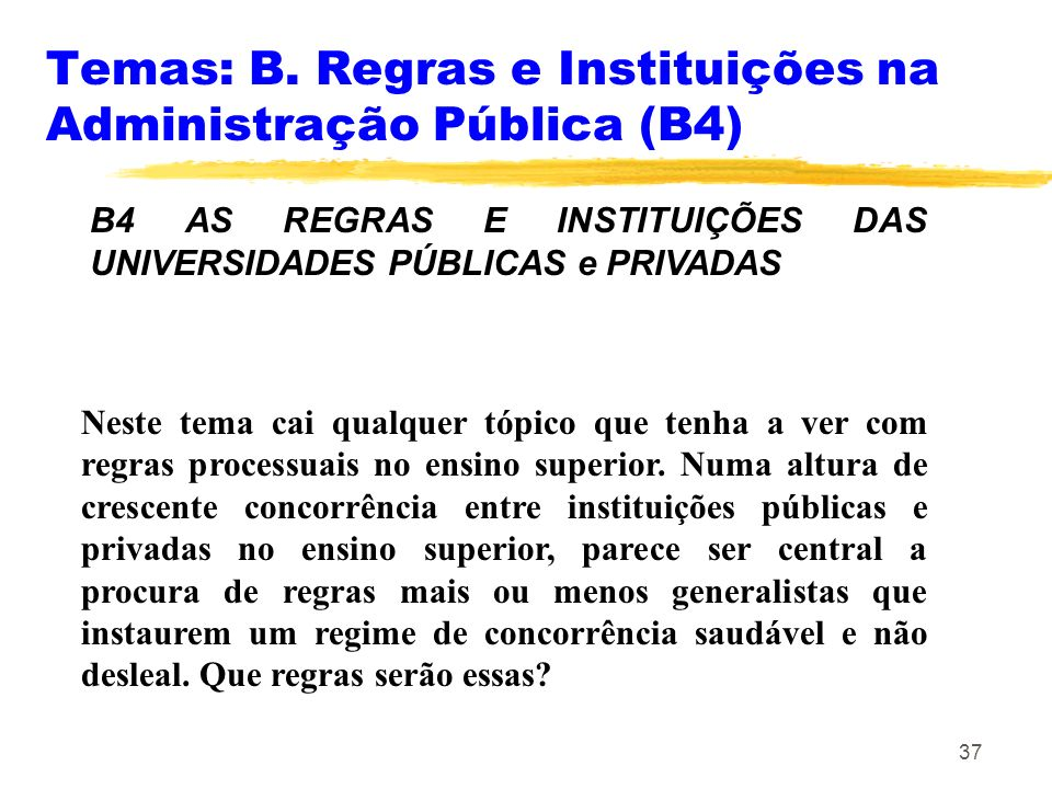 Temas: B. Regras e Instituições na Administração Pública (B4)
