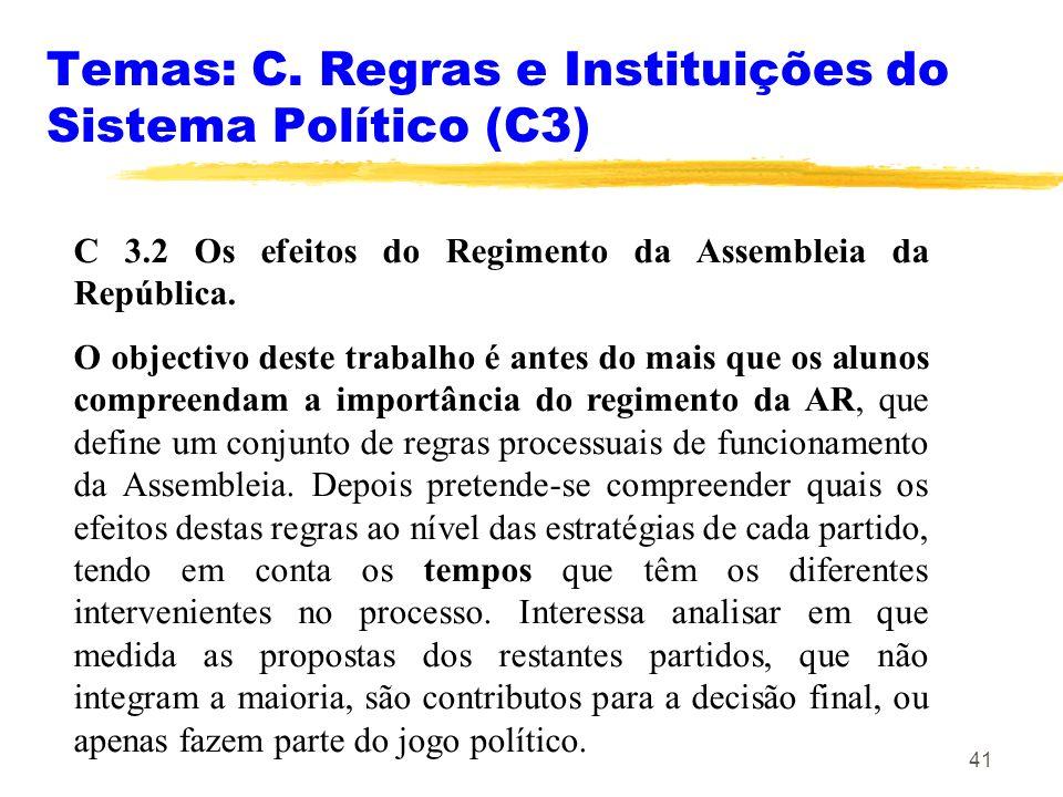 Temas: C. Regras e Instituições do Sistema Político (C3)
