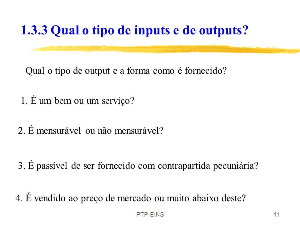 1.3.3 Qual o tipo de inputs e de outputs