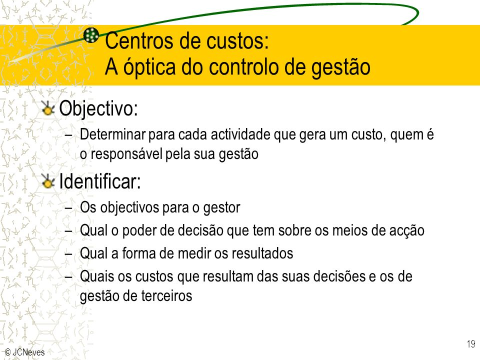 Centros de custos: A óptica do controlo de gestão