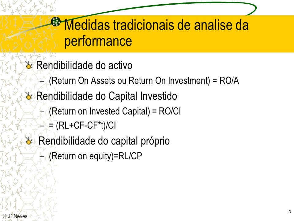 Medidas tradicionais de analise da performance