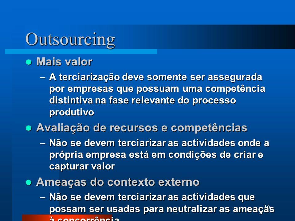 Outsourcing Mais valor Avaliação de recursos e competências
