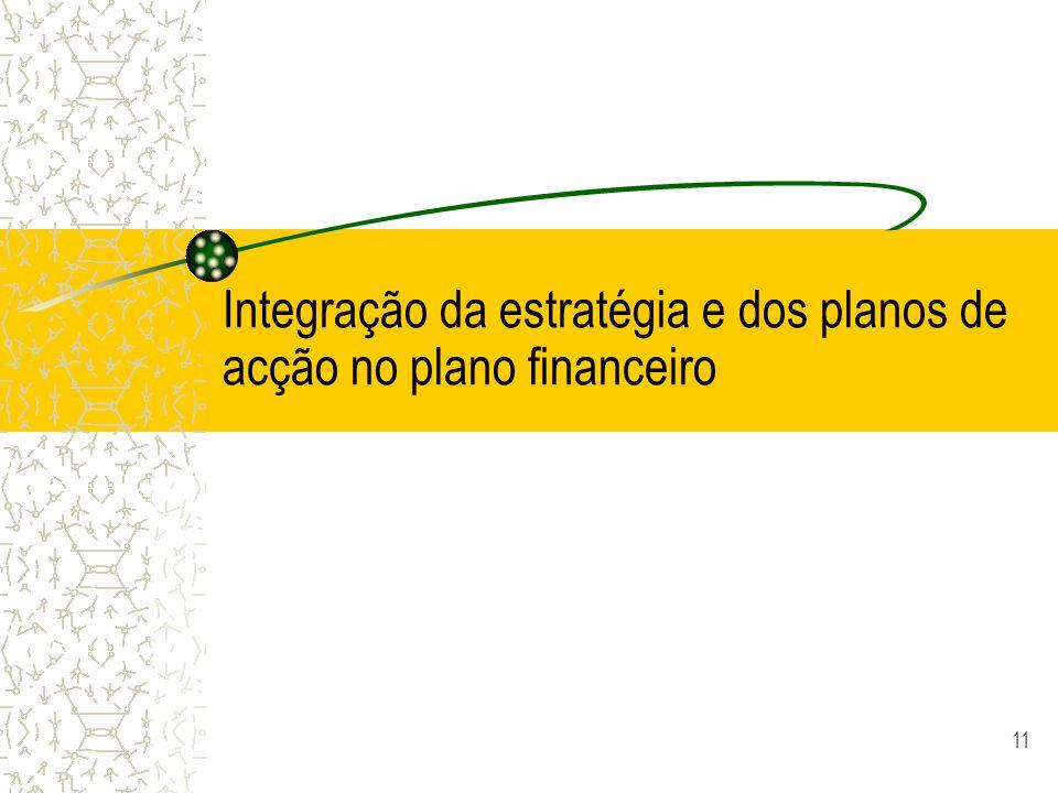 Integração da estratégia e dos planos de acção no plano financeiro