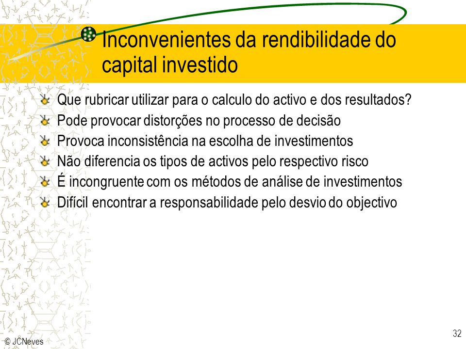 Inconvenientes da rendibilidade do capital investido