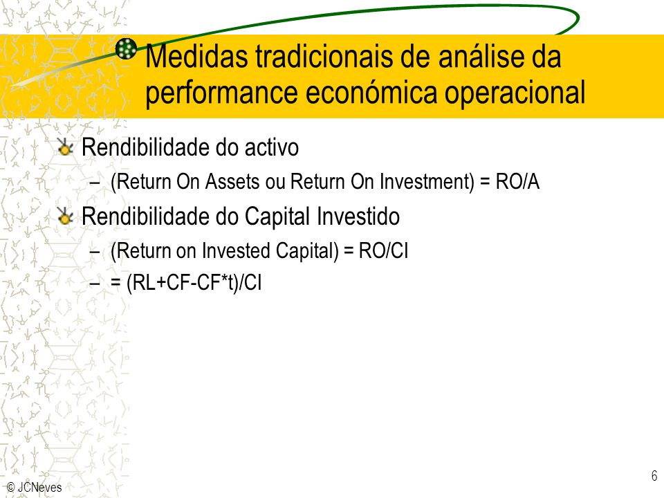Medidas tradicionais de análise da performance económica operacional