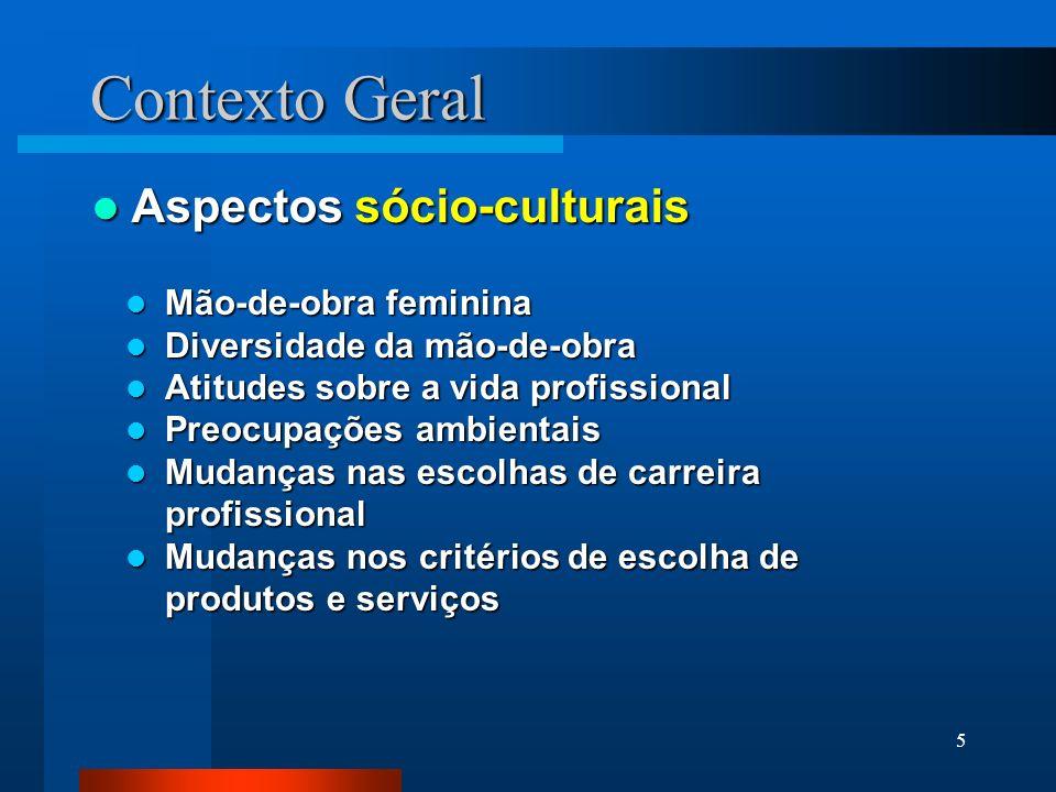 Contexto Geral Aspectos sócio-culturais Mão-de-obra feminina