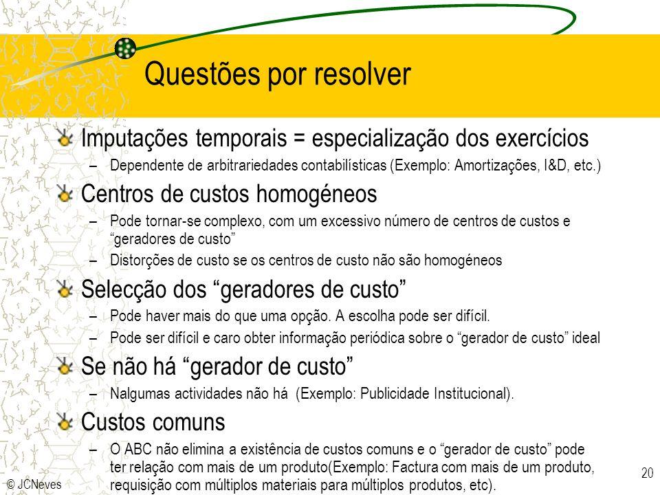 Questões por resolver Imputações temporais = especialização dos exercícios.