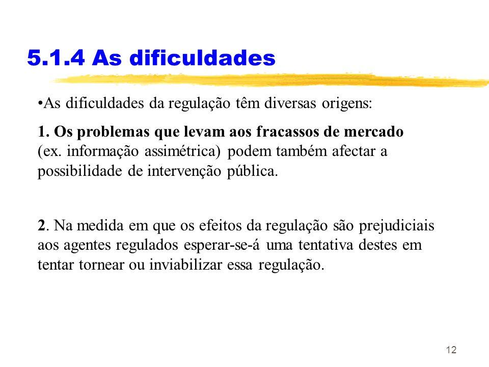 5.1.4 As dificuldades As dificuldades da regulação têm diversas origens: