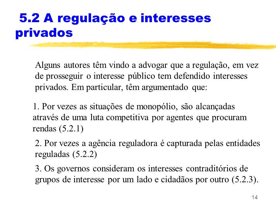5.2 A regulação e interesses privados