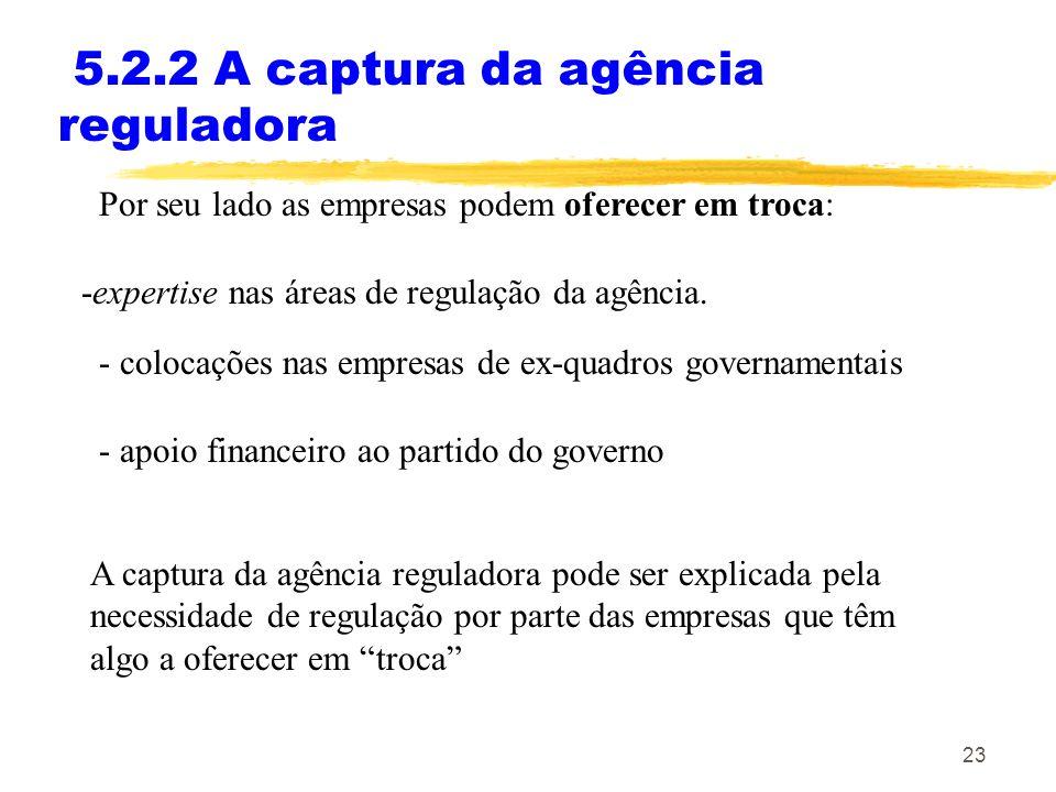 5.2.2 A captura da agência reguladora