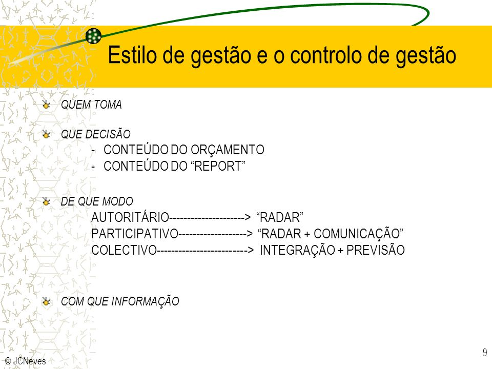 Estilo de gestão e o controlo de gestão