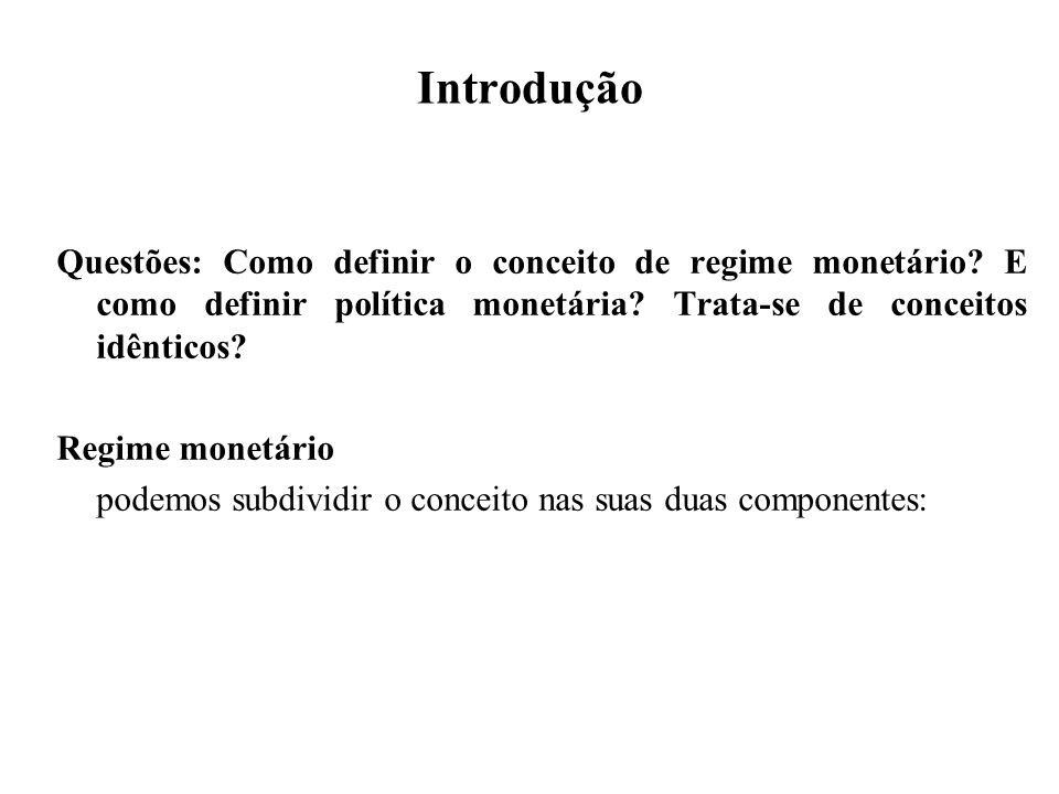 Introdução Questões: Como definir o conceito de regime monetário E como definir política monetária Trata-se de conceitos idênticos