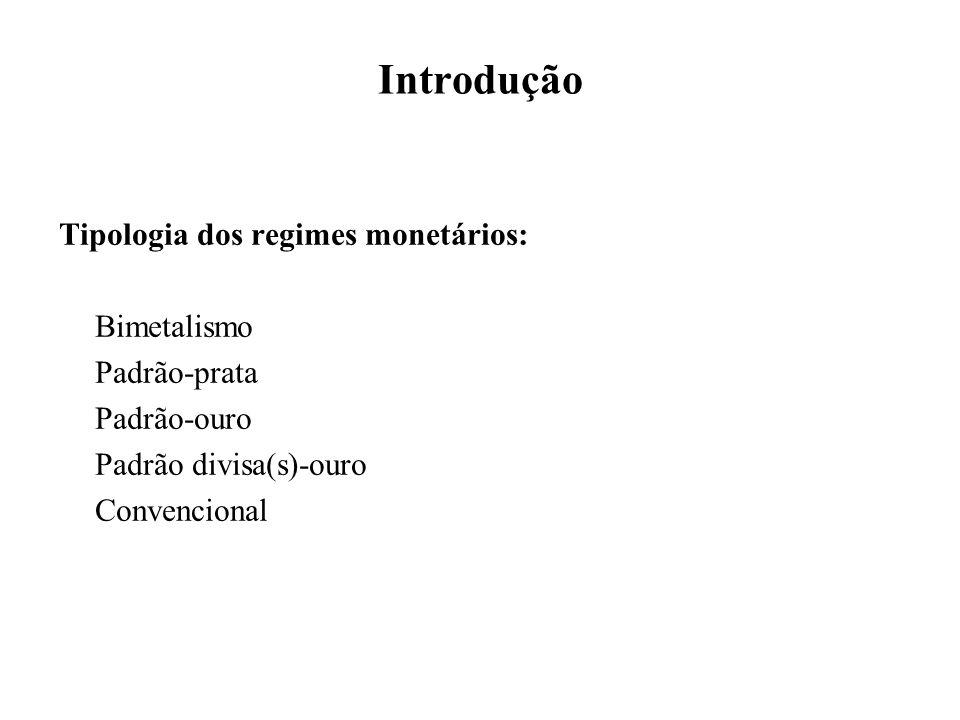 Introdução Tipologia dos regimes monetários: Bimetalismo Padrão-prata