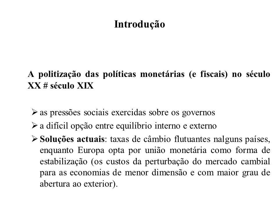 Introdução A politização das políticas monetárias (e fiscais) no século XX # século XIX. as pressões sociais exercidas sobre os governos.
