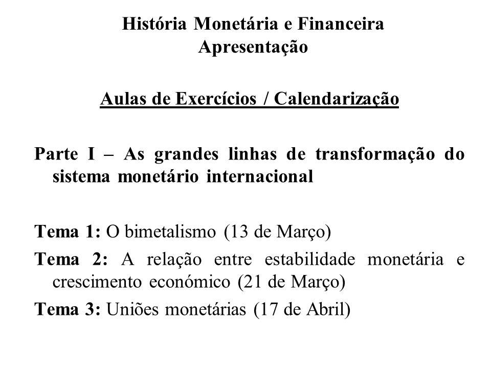 História Monetária e Financeira Apresentação