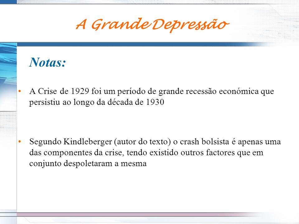 A Grande Depressão Notas: