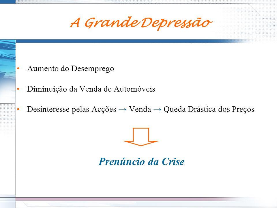 A Grande Depressão Prenúncio da Crise Aumento do Desemprego