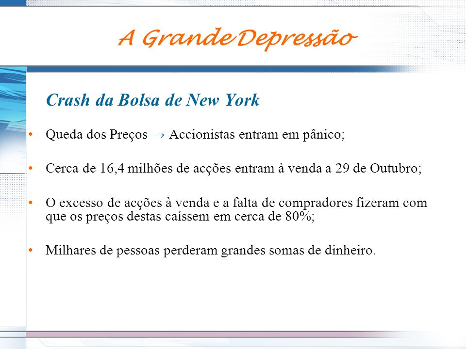 A Grande Depressão Crash da Bolsa de New York