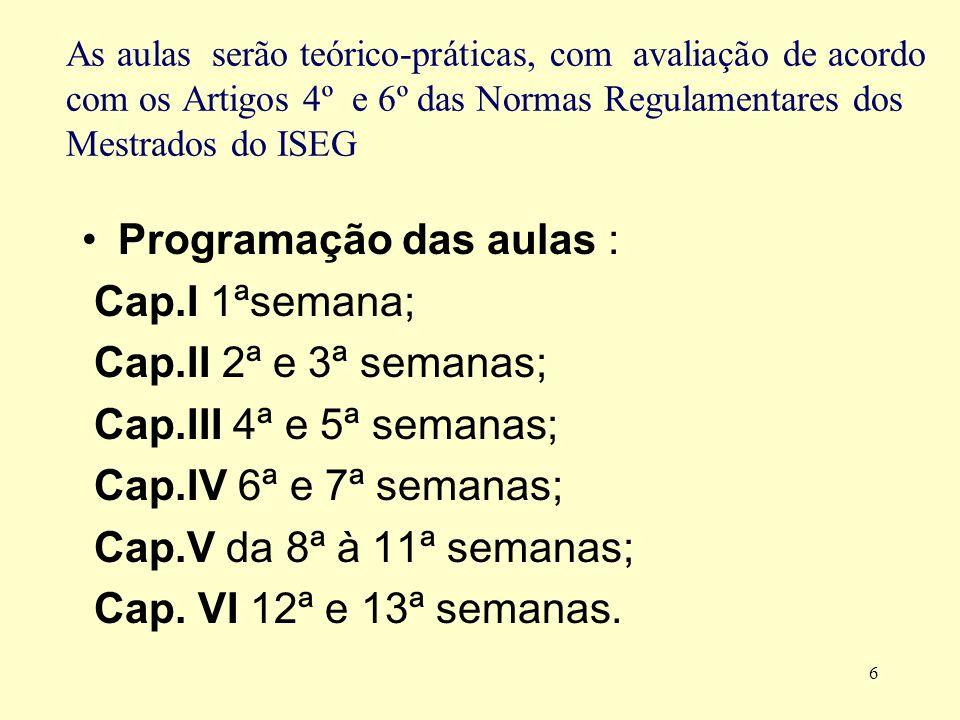 Programação das aulas : Cap.I 1ªsemana; Cap.II 2ª e 3ª semanas;
