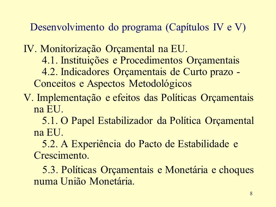 Desenvolvimento do programa (Capítulos IV e V)