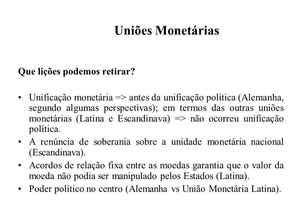 Uniões Monetárias Que lições podemos retirar