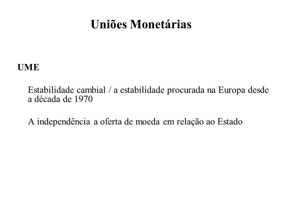 Uniões Monetárias UME. Estabilidade cambial / a estabilidade procurada na Europa desde a década de 1970.