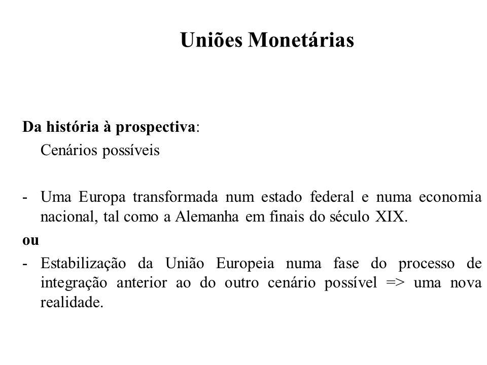 Uniões Monetárias Da história à prospectiva: Cenários possíveis