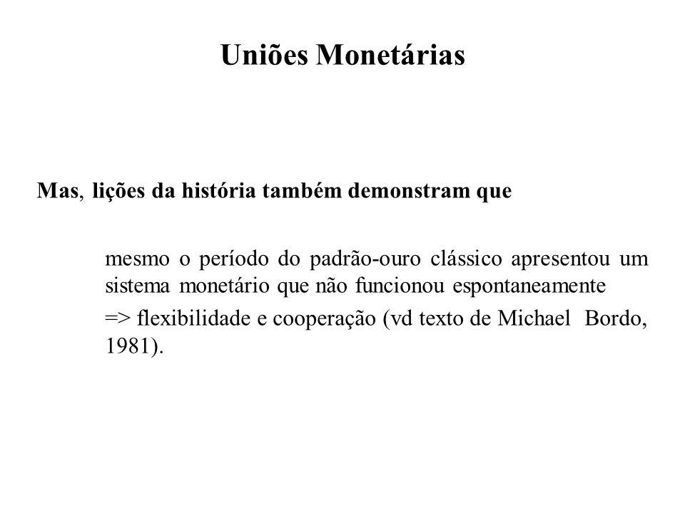 Uniões Monetárias Mas, lições da história também demonstram que