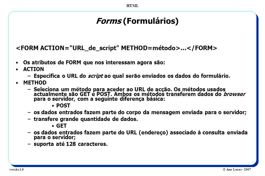 Forms (Formulários) <FORM ACTION= URL_de_script METHOD=método>...</FORM> Os atributos de FORM que nos interessam agora são: