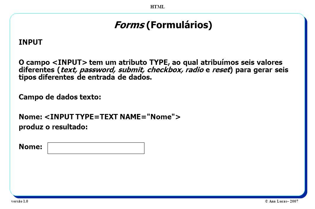 Forms (Formulários) INPUT