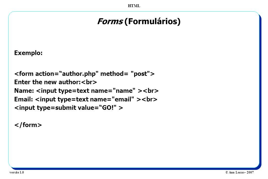Forms (Formulários) Exemplo: