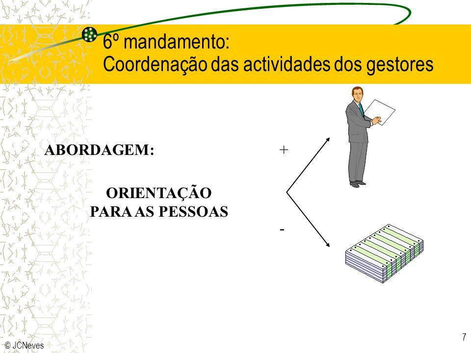 6º mandamento: Coordenação das actividades dos gestores