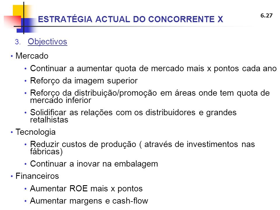 ESTRATÉGIA ACTUAL DO CONCORRENTE X