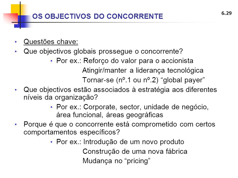 OS OBJECTIVOS DO CONCORRENTE