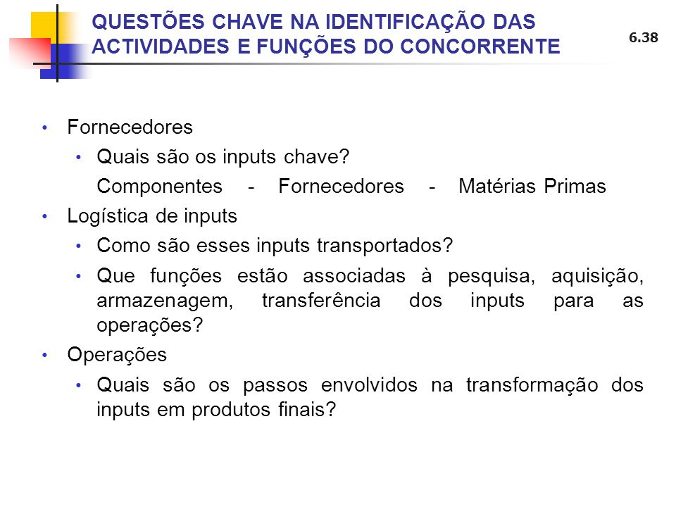 QUESTÕES CHAVE NA IDENTIFICAÇÃO DAS ACTIVIDADES E FUNÇÕES DO CONCORRENTE