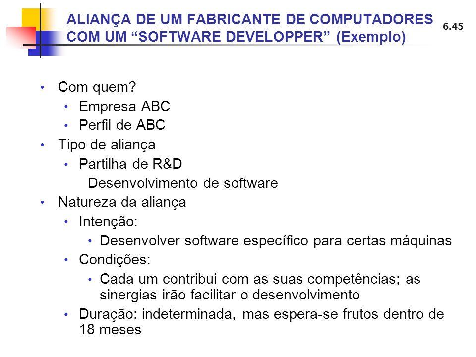 ALIANÇA DE UM FABRICANTE DE COMPUTADORES COM UM SOFTWARE DEVELOPPER (Exemplo)