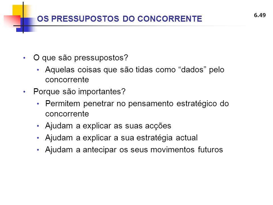 OS PRESSUPOSTOS DO CONCORRENTE