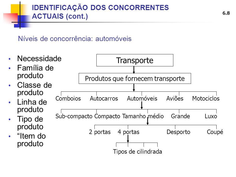 IDENTIFICAÇÃO DOS CONCORRENTES ACTUAIS (cont.)