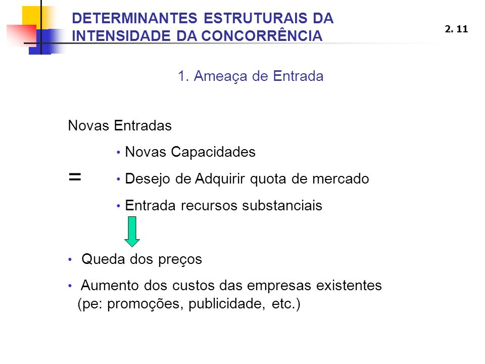 = DETERMINANTES ESTRUTURAIS DA INTENSIDADE DA CONCORRÊNCIA