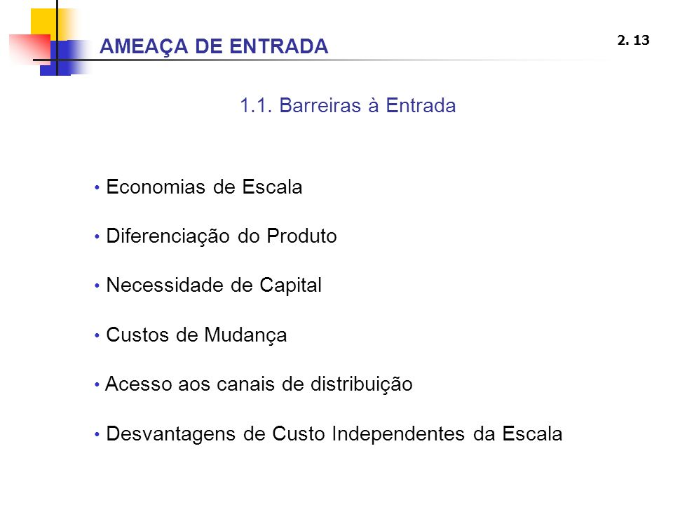 AMEAÇA DE ENTRADA 1.1. Barreiras à Entrada. Economias de Escala. Diferenciação do Produto. Necessidade de Capital.
