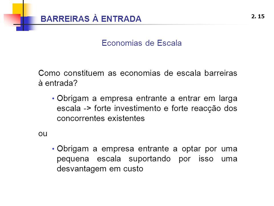 BARREIRAS À ENTRADA Economias de Escala. Como constituem as economias de escala barreiras à entrada