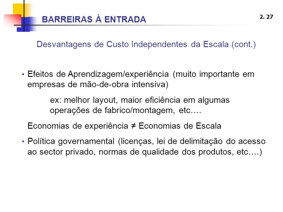 Desvantagens de Custo Independentes da Escala (cont.)