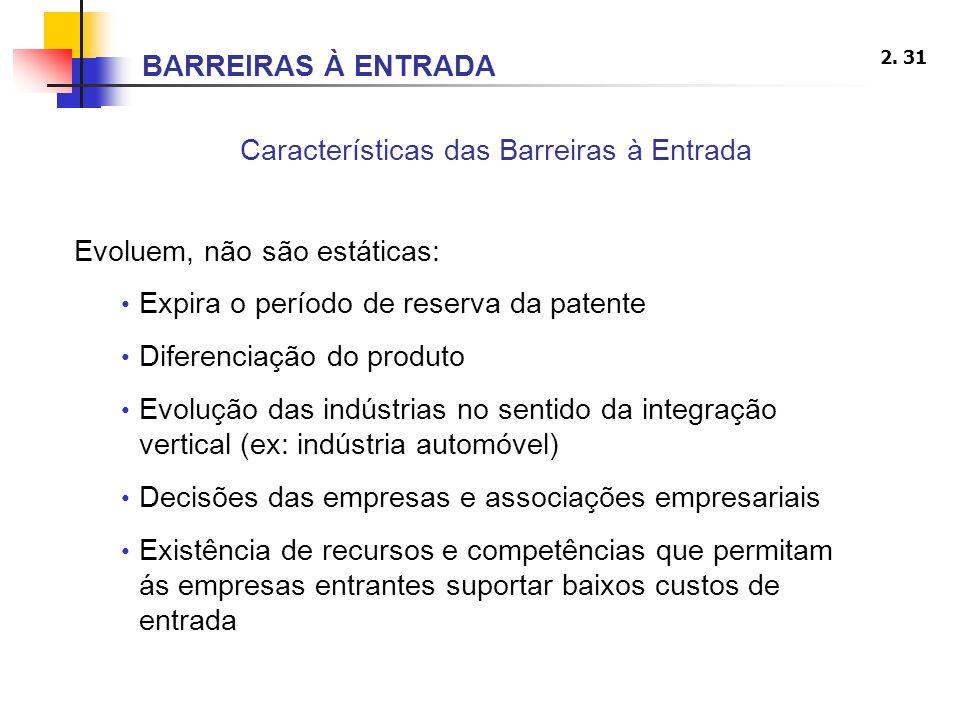 Características das Barreiras à Entrada