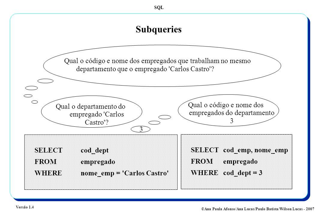 Subqueries Qual o código e nome dos empregados que trabalham no mesmo departamento que o empregado Carlos Castro