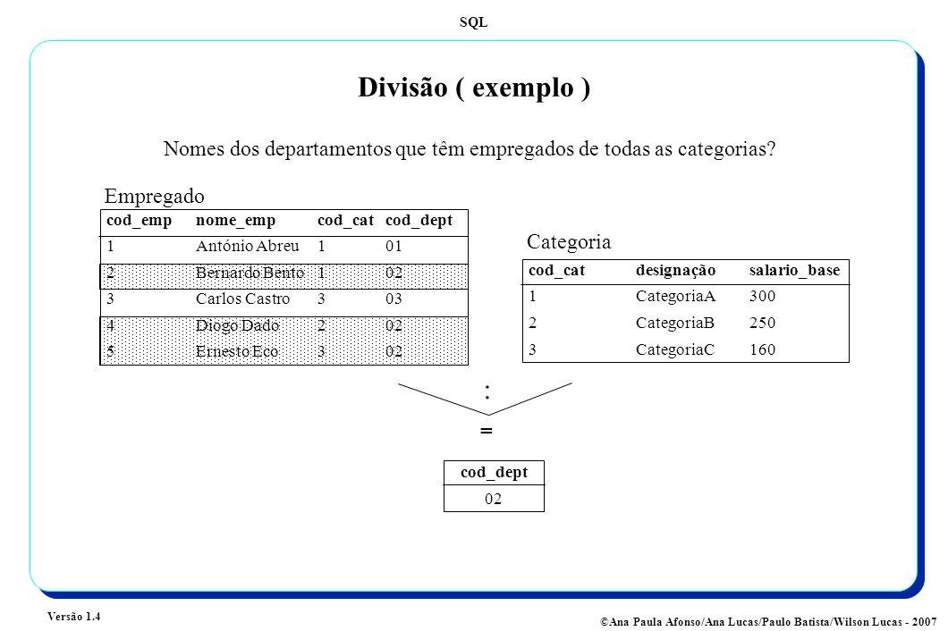 Divisão ( exemplo ) Nomes dos departamentos que têm empregados de todas as categorias Empregado. cod_emp nome_emp cod_cat cod_dept.