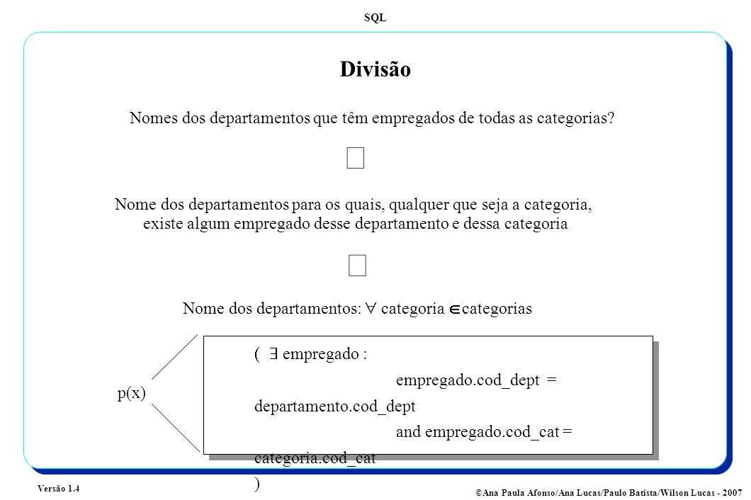 Divisão Nomes dos departamentos que têm empregados de todas as categorias Û.